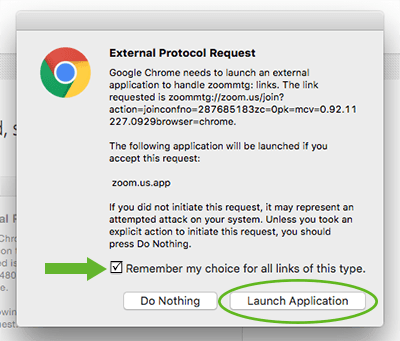 Screenshot of how to launch Zoom from Chrome