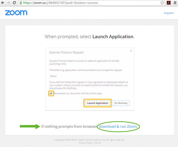 Screenshot of how to download Zoom