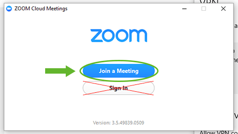 Screenshot of how to join Zoom meeting